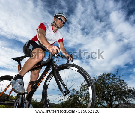 cyclist on a race bike - stock photo