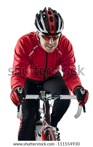 Cyclist riding a bike isolated on white background. - stock photo