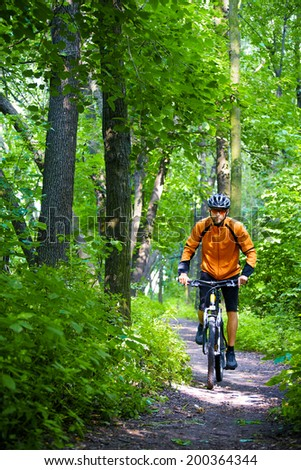 Cyclist Riding the Bike on the Trail in the Beautiful Summer Forest - stock photo