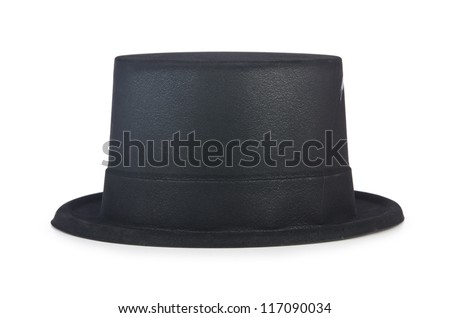 Cylinder hat isolated on the white - stock photo