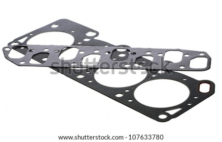 Cylinder head gasket isolated on white background - stock photo