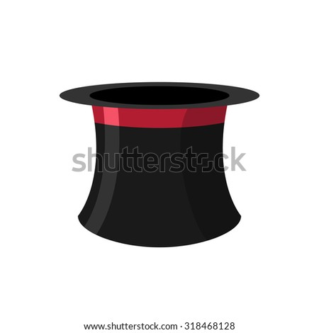 Cylinder magicians on a white background. Black Hat Topper with Red Ribbon. Old headdress for men.