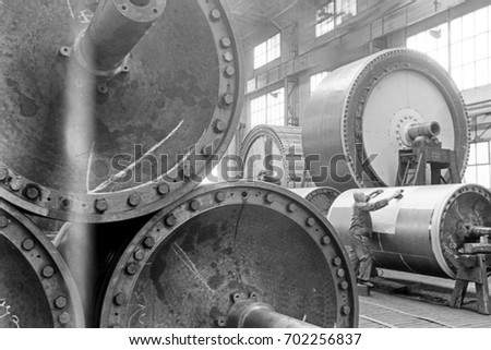 Cylindrical machine parts in factory