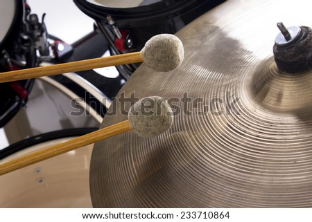Cymbal and fragment drumset closeup - stock photo
