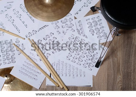 Cymbal. notes and drumsticks. Drums