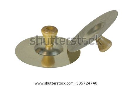 Cymbals that are clanged together to make music - path included - stock photo