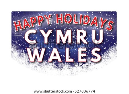 CYMRU WALES Happy Holidays welcome text card.
