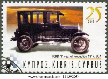 CYPRUS - CIRCA 2003 : A stamp printed in Cyprus shows Ford Model T, year of production 1917, USA, series Antique Automobiles, circa 2003 - stock photo