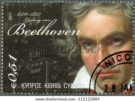 CYPRUS - CIRCA 2011 : A stamp printed in Cyprus shows Ludwig van Beethoven (1770-1827), circa 2011 - stock photo