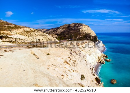 Cyprus coastline. Beautiful view of Mediterranean Sea and mountains landscape on the road to Paphos