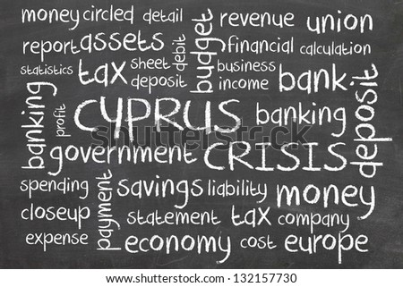 cyprus crisis word cloud on blackboard - stock photo