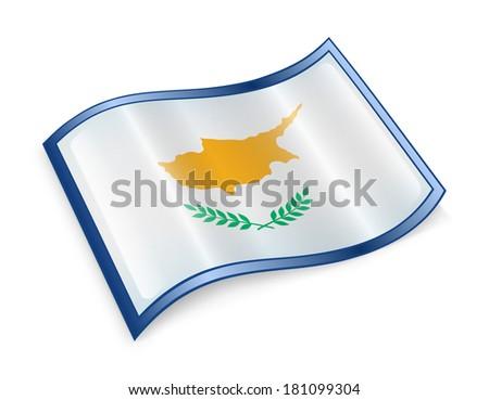 Cyprus Flag Icon, isolated on white background. - stock photo