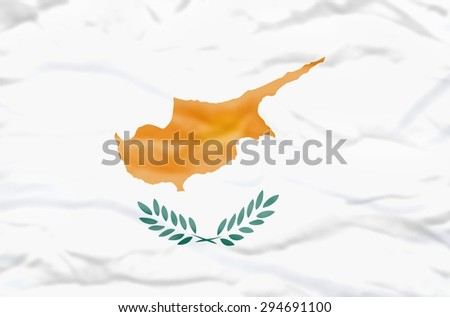 Cyprus flag. Wavy flag of Cyprus fills the frame.
