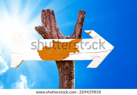 Cyprus Flag wooden sign with sky background