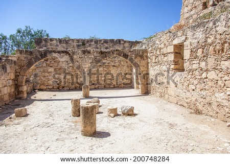 CYPRUS - 14 JUNE 2013: The medieval castle of Kolossi, south of Cyprus, near Limassol