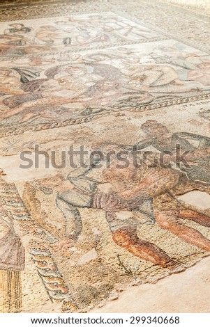 Cyprus - Kato Paphos archeological park ancient Greek mosaic.  - stock photo