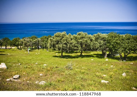 Cyprus landscape with mountains and Mediterranean sea. - stock photo