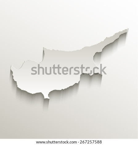 Cyprus map card paper 3D natural raster - stock photo