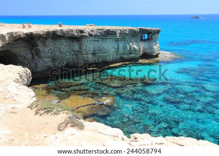 Cyprus - Mediterranean Sea coast. Sea Caves near Ayia Napa. - stock photo