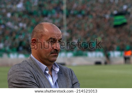 CYPRUS,NICOSIA - AUG 28:Stanislav Cherchesov coach of Dinamo Moskva during the Europa League  soccer match against  Omonoia   at GSP stadium in Nicosia, Cyprus, Thursday, Aug. 28, 2014