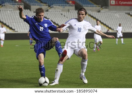 CYPRUS,NICOSIA - NOV 14:Alexander Ring and Sinisa DOBRASINOVIC during the game between Cypru sand  Finland for an international friendly match at Gsp Stadium in Nicosia on November 14th,2012 - stock photo