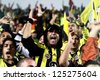 CYPRUS, NICOSIA-OCTOBER 25:Fenerbahce fans before the game against AEL Limassol  for UEFA Europa League group C football match at GSP Stadium in the Cypriot capital Nicosia on October 25, 2012. - stock photo