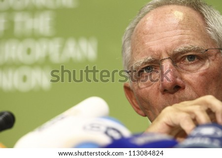 CYPRUS, NICOSIA-SEPTEMBER 15:German Finance Minister Wolfgang Schaeuble speaks to media during an ECOFIN Council  on September 15,2012 at Filoxenia Conference Center in Nicosia,Cyprus