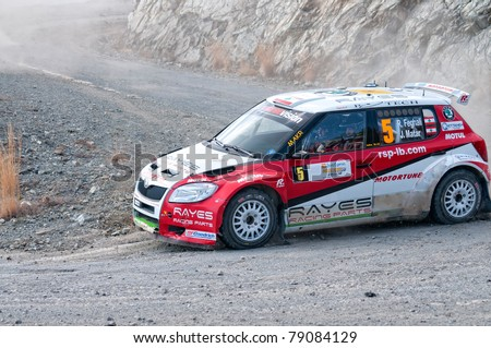 CYPRUS - NOVEMBER 7: Driver Feghali Roger (rl) driving Skoda Fabia S2000 During Fx Pro Cyprus Rally on November 7, 2010 in Limassol District, Cyprus.