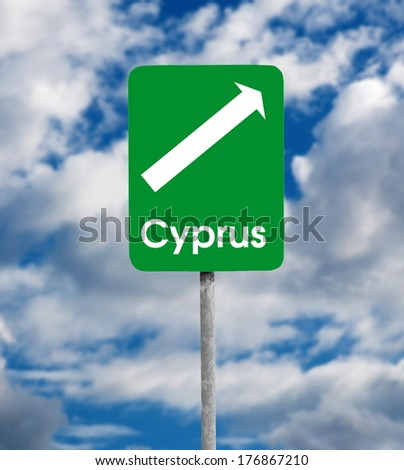 Cyprus road sign over sky background