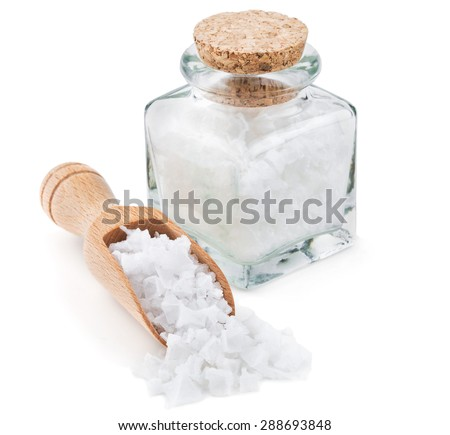 Cyprus sea salt flakes in a glass bottle isolated on white background - stock photo