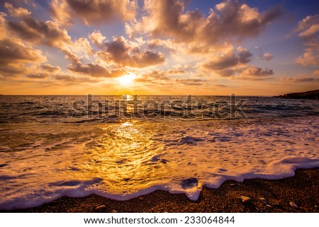 Cyprus sunset - stock photo
