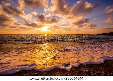 Cyprus sunset - stock photo