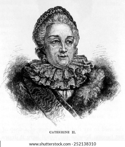 Czarina Catherine II (aka Catherine the Great) (1729-1796), Czarina of Russia (1762-1796) engraving: 1886