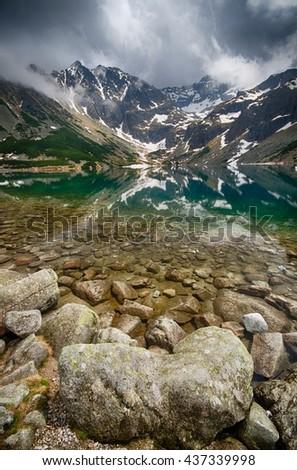 Czarny Staw Gasienicowy in polish Tatra Mountains - stock photo