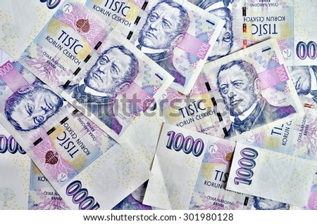Czech banknotes crowns, one thousand,  background