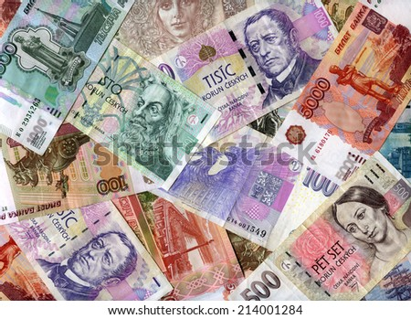 Czech banknotes (koruns) and Russian rubles background - stock photo