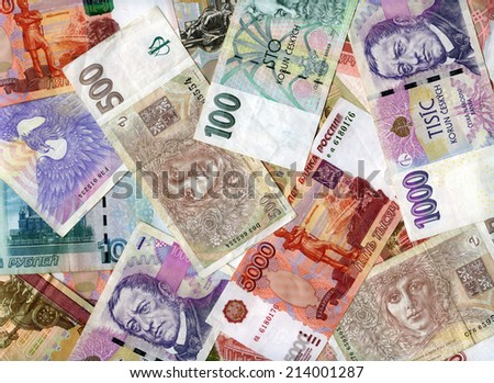 Czech banknotes (koruns) and Russian rubles background