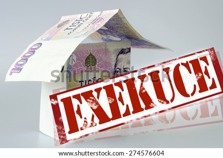 Czech economy and finance - house execution and money - stock photo