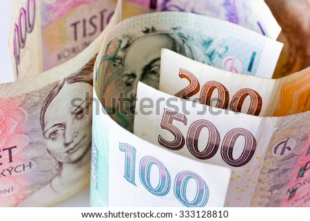 Czech economy and finance - paper money, Czech crown currency - stock photo