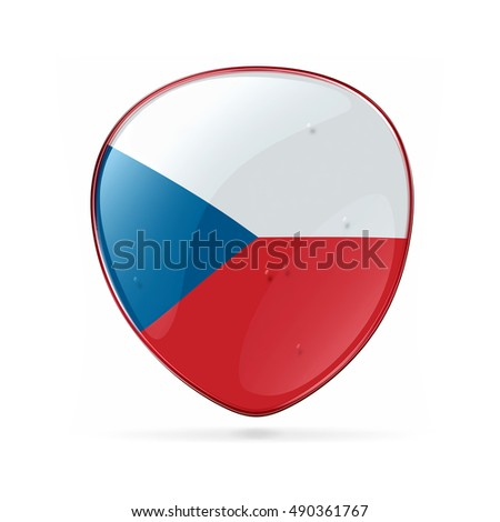 Czech Flag icon, isolated on white background.