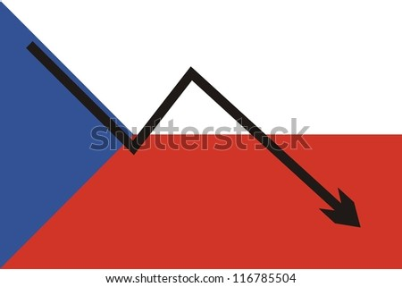 Czech flag with economic falling graph - stock photo