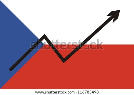 Czech flag with economic rising graph - stock photo