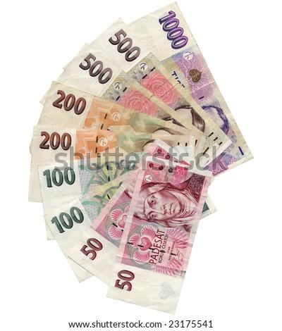 Czech Korun money banknotes over white background - stock photo