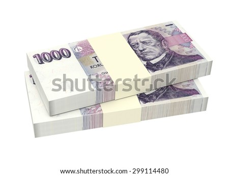 Czech Koruna isolated on white background. Computer generated 3D photo rendering. - stock photo