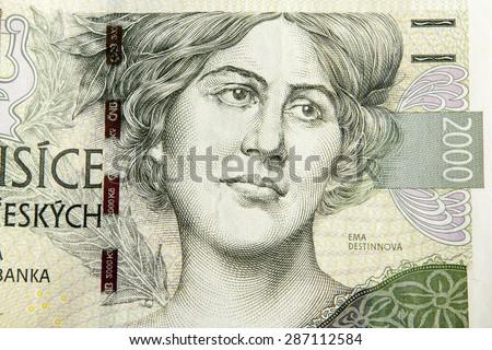 Czech korunas CZK, banknotes - stock photo