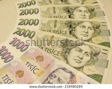 Czech korunas CZK (legal tender of the Czech Republic) banknotes - stock photo