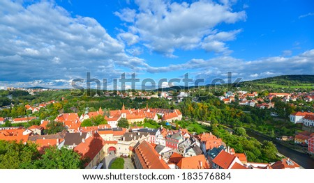 Czech Krumlov - small city in the South Bohemian Region of the Czech Republic. Panorama from the tower Hradek. Cesky Crumlaw on the Vltava River - stock photo
