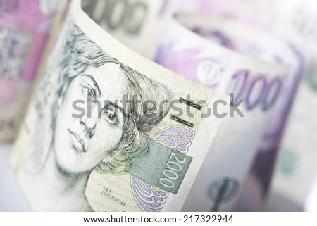 czech money - stock photo