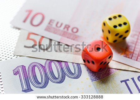 Czech money and Euro banknotes - European union and Czech republic - business and finance - stock photo