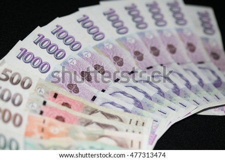 czech money, czech crown, money background, on wooden desk, ceska koruna, Various bills as background